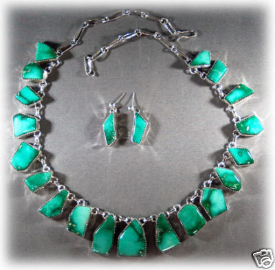 Broken Arrown Turquoise Necklace Jewelry Set