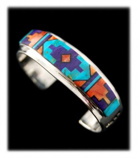 American Indian Inlaid Silver Bracelet
