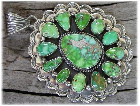 Cluster Jewelry Pendant with Lime Green Turquoise from Carico Lake