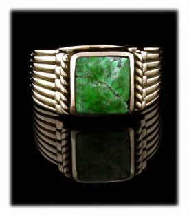 Mens Gold Ring with Carico Lake Turquoise