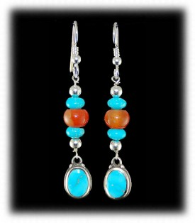 Carnelian, Turquoise and Silver Earrings