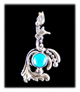 Victorian Roster pendant with natural Sleeping Beauty Turquoise from Arizona