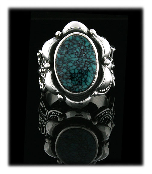 Chinese Spiderweb Turquoise  Cabochon in a silver ring