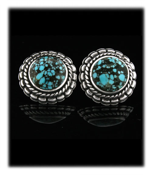 Chinese Spiderweb Turquoise Cabochons in earrings