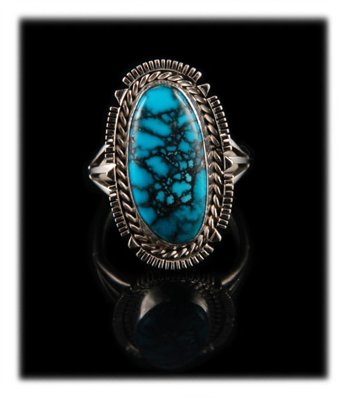 Top Grade Blue Spiderweb Turquoise from the Cloud Mountain Turquoise mine