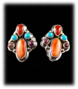 Cluster style sterling silver earrings