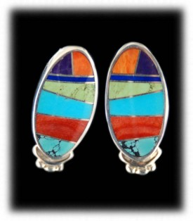 Inlay Earrings with multi color  gemstones