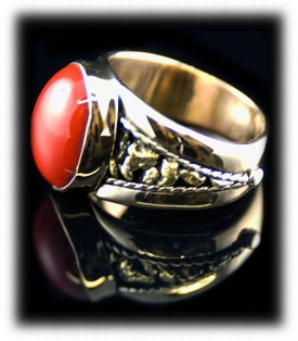 Coral Gold Ring with Colorado Gold Nuggets