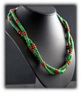 Coral and Lime Turquoise Necklace by Nattarika Hartman