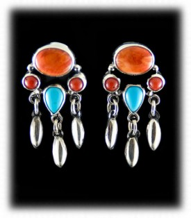Coral, Spiny and Turquoise Silver Earrings