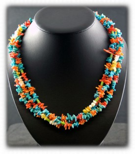 Turquoise and Coral Beaded Treasure Necklace