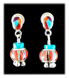 Dynamite Multi-color Earrings with inlaid beads, Turquoise, Spiny and Silver