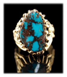 14k Gold Bisbee Turquoise Gold ring featured in Cowboys and Indians Magazine