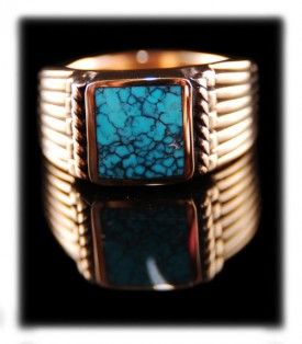 Lone Mountain Turquoise and Gold Ring featured in Cowboys and Indians Magazine
