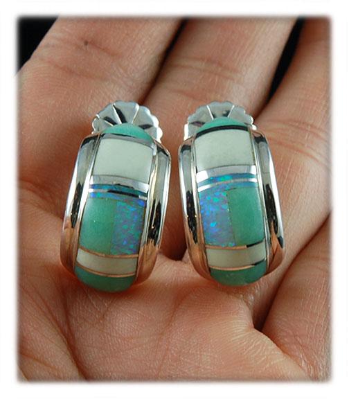 Inlay hoop earrings