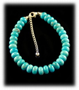 Silver and Roundel Turquoise Beaded Cuff Bracelet
