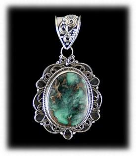 Navajo Turquoise Pendant - Navajo Silver Pendant