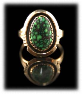 Dameli Spiderweb Turquoise Gold Ring