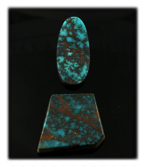 Deep Blue Turquoise cabochons from the Pilot Mountain Mine