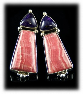 Rhodocrosite Earrings - Designer Silver Jewelry