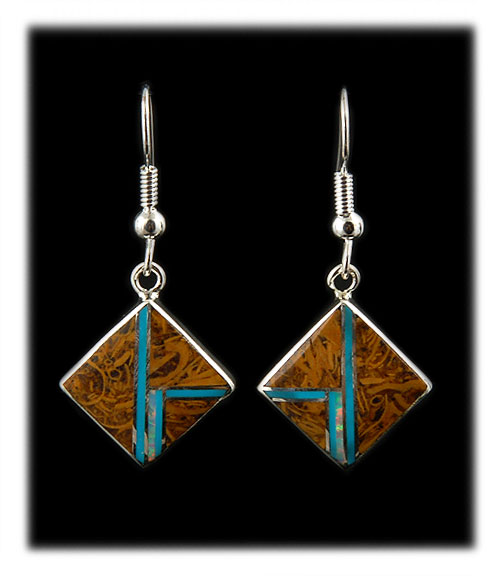 diamond shaped inlay drop earrings