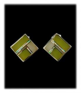 diamond shaped inlay drop earrings