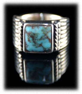 Mens Turquoise Silver Ring with Dry Creek Turquoise