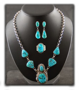 Fancy Blue Turquoise Necklace by John Hartman