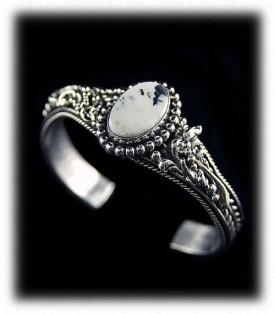 Victorian Style White Buffalo Turquoise Bracelet