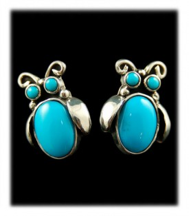 Navajo Handmade Beetle Post Earrings in Turquoise