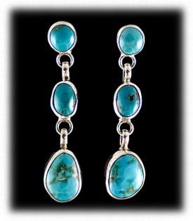 Fox Turquoise Chandelier Earrings in Sterling Silver