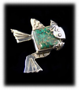 Silver and Turquoise Frog Pin