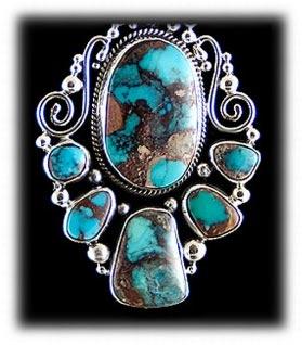 Multi Stone Gem Bisbee Turquosie Pendant