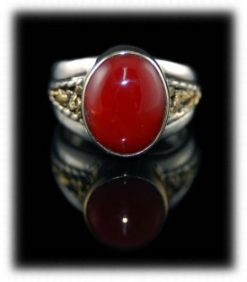 Coral Ring in Sterling Silver and Gold Nuggets