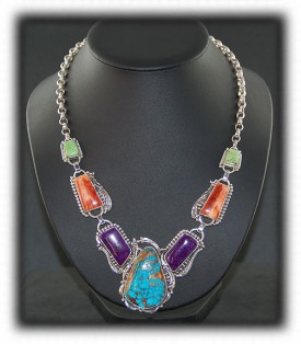 Gemstone Necklace in Sterling Silver