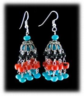 Coral and Turquoise Gemstone Fashion Chandelier Earrings