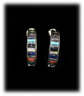 Gemstone Inlaid Hoop Earrings with Turquoise