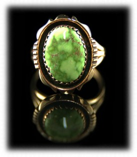 Carico Lake Turquoise American Indian Ring in Gold