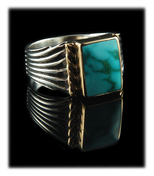 Gold and Silver Men's Turquoise Ring