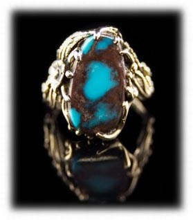 Gold and Bisbee Turquoise Ring