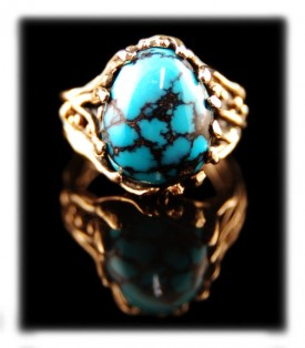 Blue Wind Turquoise and gold ring