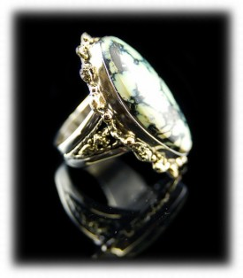 Sterling Silver and Gold Nugget Mens Ring
