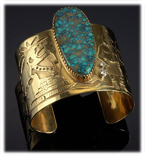 Gold Southwest Turquoise Jewelry with Red Mountain Turquoise