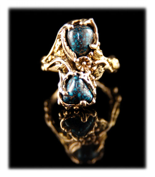 gold ring with Lander Blue Spiderweb Turquoise Cabochons