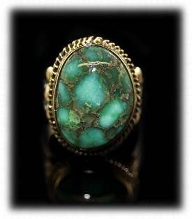 Gold and Silver Damele Turquoise Ring
