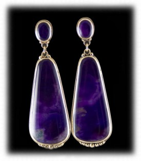 Bezel Set Sugilite Earrings