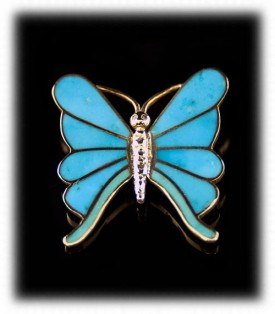 Gold Turquoise Jewelry Pin