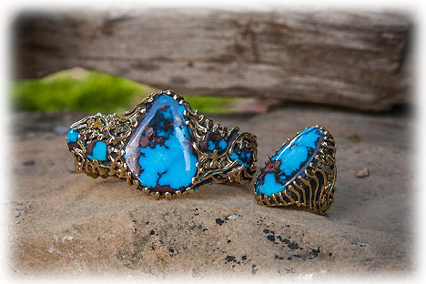Gold and Bisbee Turquoise Ring and Bracelet set