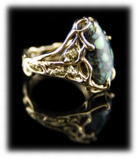 Tortoise Turquoise Gold Ring with Colorado Gold Nuggets