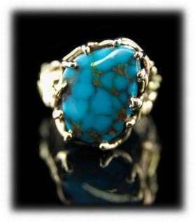 Gold Ring with Gem Villa Grove Turquoise